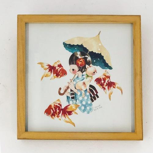 くぼもとひろみ「浴衣と金魚と猫」