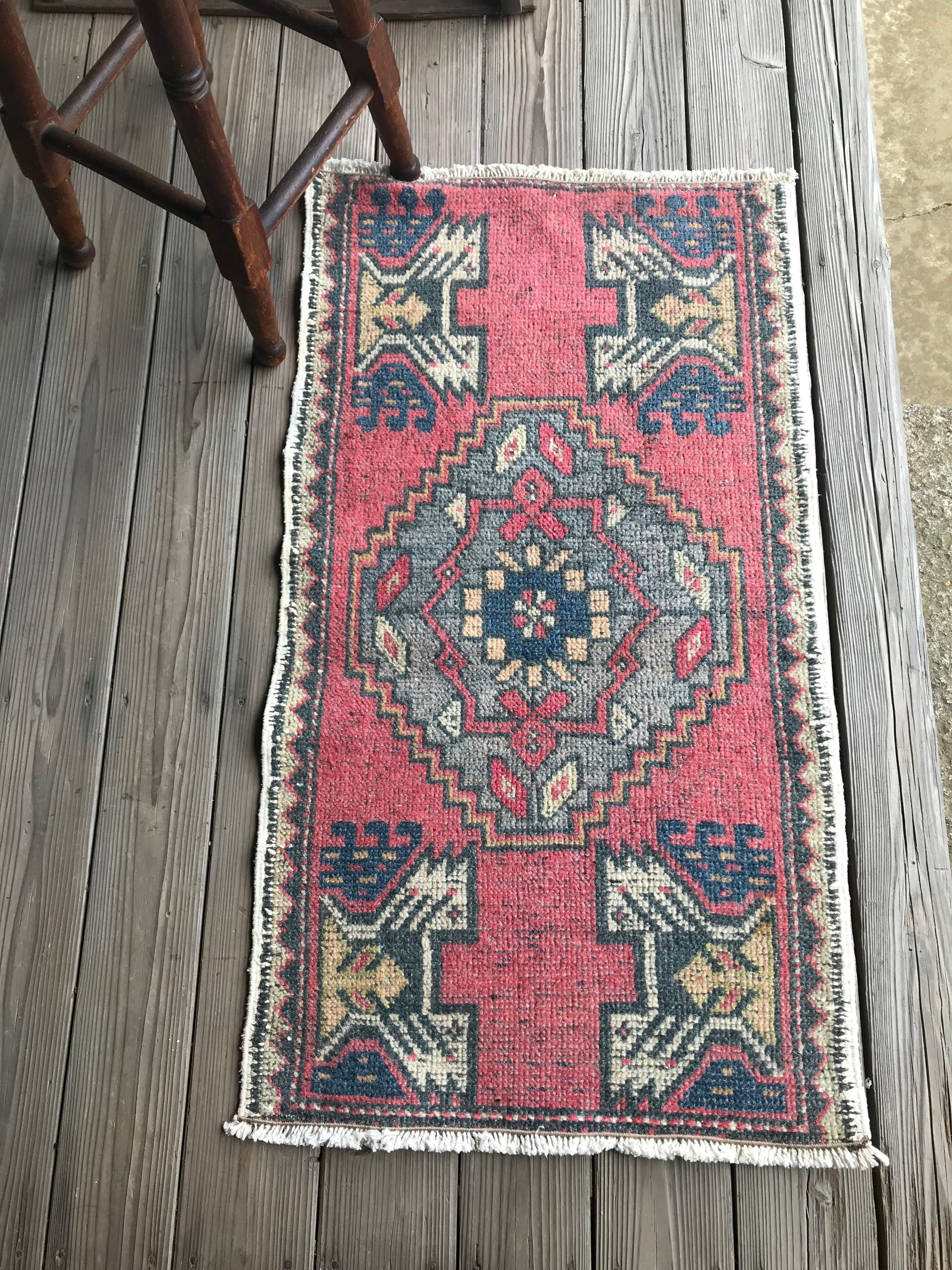 ビンテージ トルコ 絨毯 ミニラグ 玄関マット C