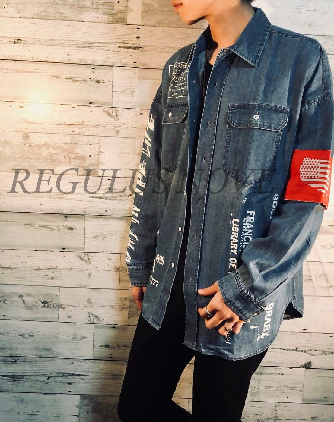 ユニセックス デザインBIGシルエットデニムシャツ SAX レディース メンズ   オーバーサイズ 大きいサイズ 派手 個性的 ストリート ロック