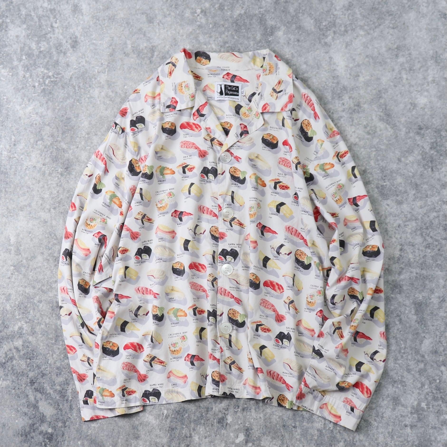 """00年代 """" 寿司 """" 総柄パジャマシャツ XL 古着 A94"""