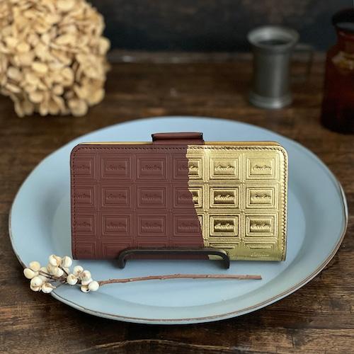 Lサイズ:革のチョコ手帳型スマホケース スイート(金の包み紙)