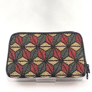 お財布バッグ174麻の葉柄ビーズ刺繍