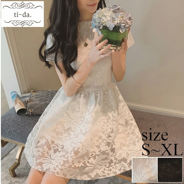 No.1329 韓国ワンピース きれいめワンピース 大人可愛いワンピース フレアワンピース レースワンピース 2color