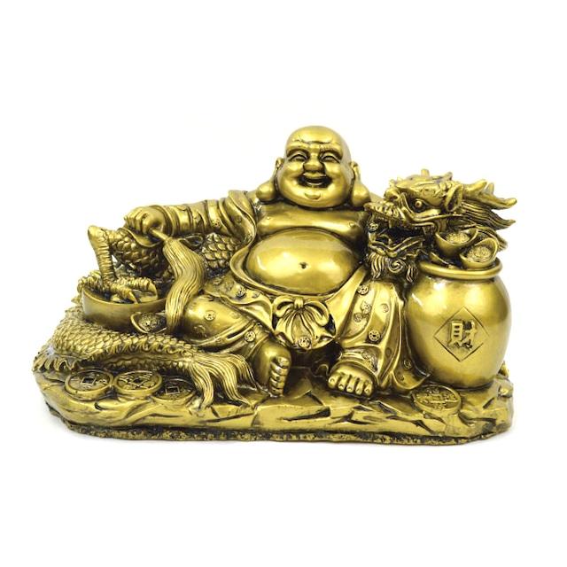龍と布袋さん S18159 高さ17cm ゴールド 金 置物 財運アップ 金運アップ 開運 商売繁盛 厄除け 富貴吉祥