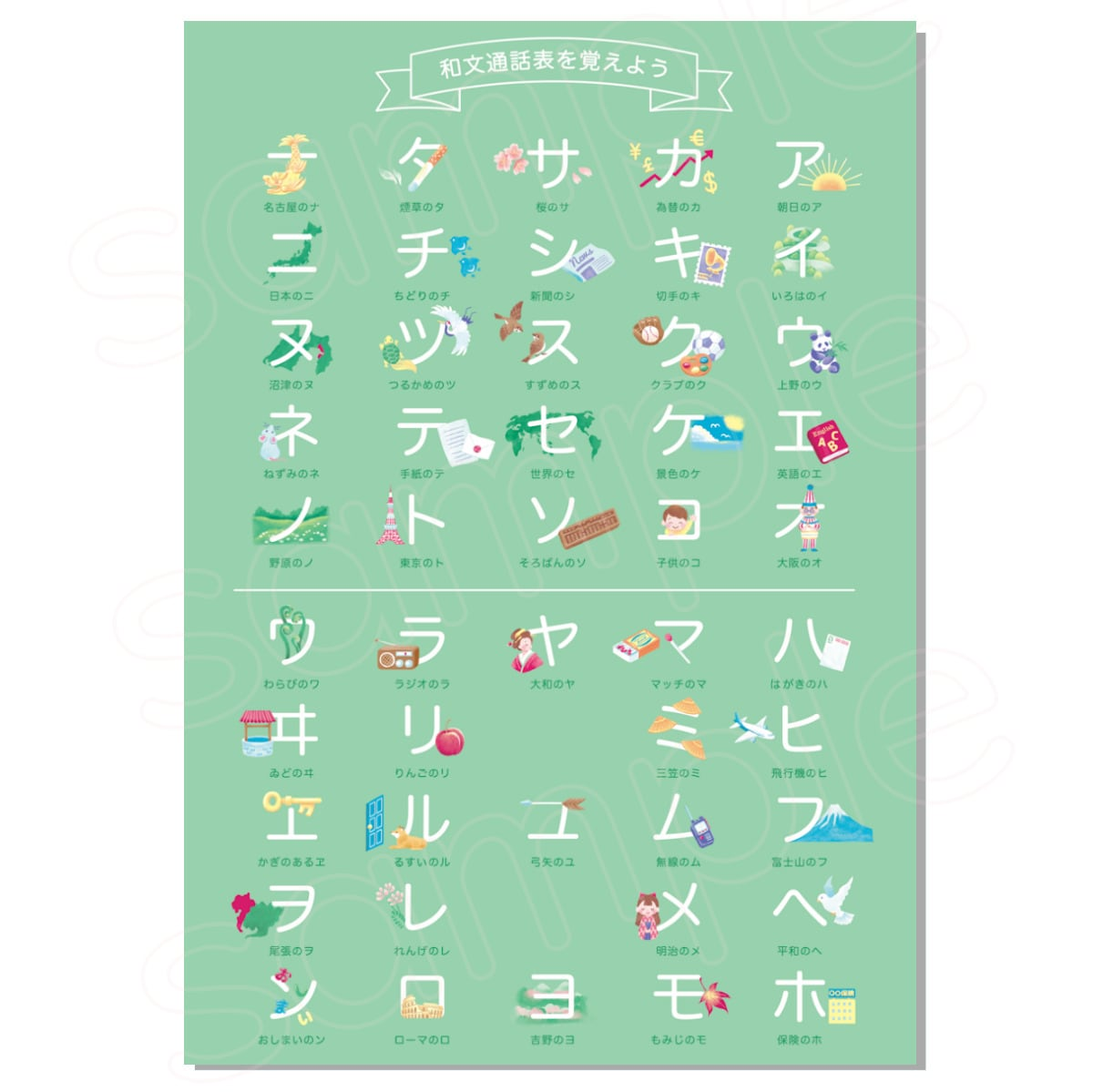 和文通話表を覚えよう ポスター 5枚セット