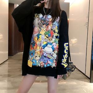 カジュアル ファッション ラウンドネック 長袖 カートゥーンプリント Tシャツ トップス<ins-2233>