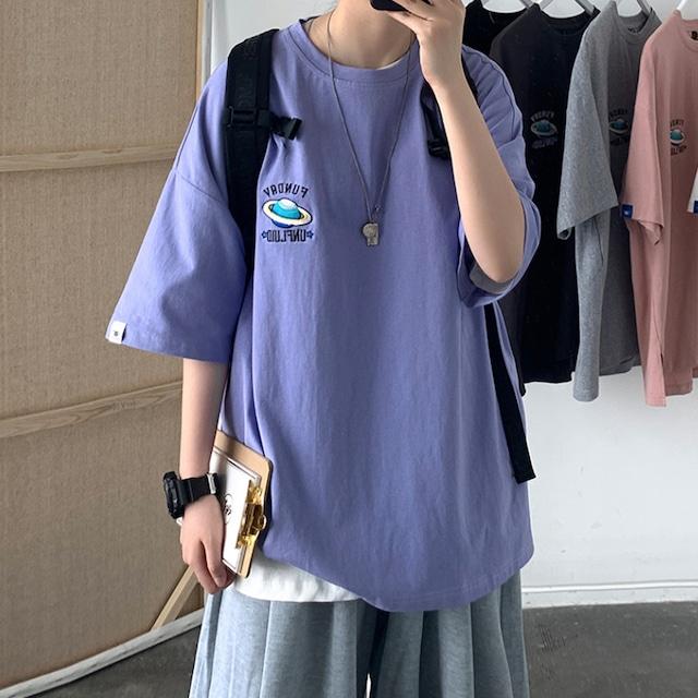 プラネット刺繍オーバーサイズTシャツ S4244