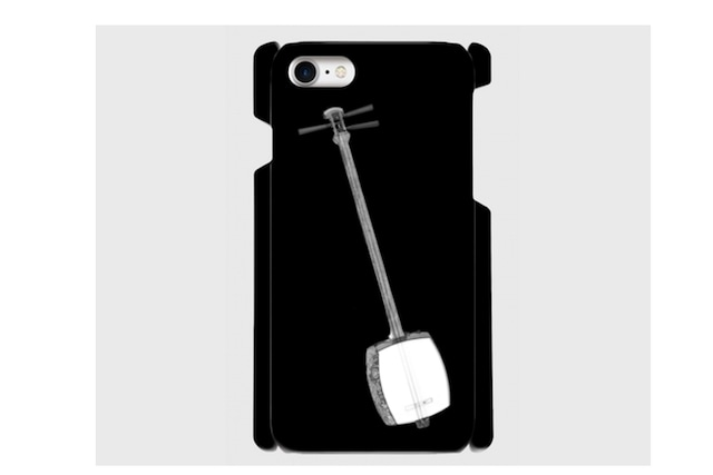 (iPhone用)三味線のスマホケース(黒)