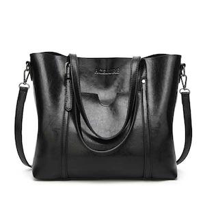 PUレザーハンドバッグ 財布付きポケット black