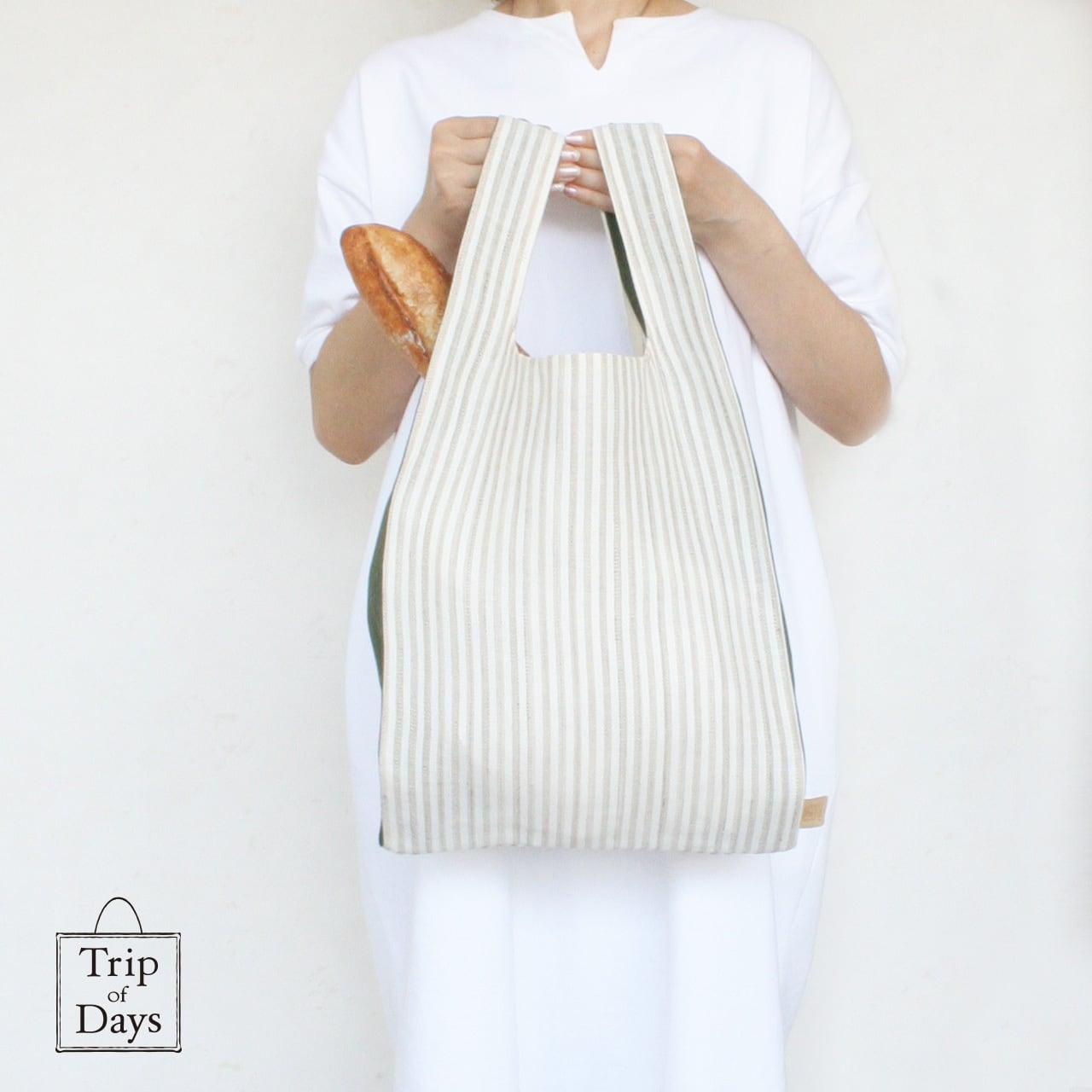 one mile bag   size L1   生成しま × 深緑