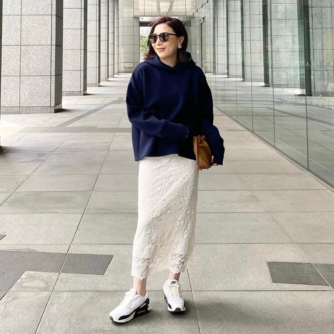 KU-UM×chiyo レースアイラインスカート オフホワイト
