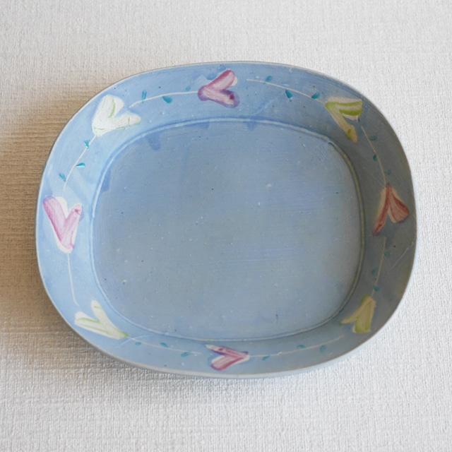 オーバル鉢 -Flower- Blue②