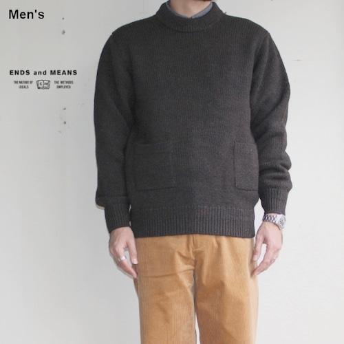 ENDS and MEANS クルーネックニット Grandpa Knit EM172K008 BROWN BLACK