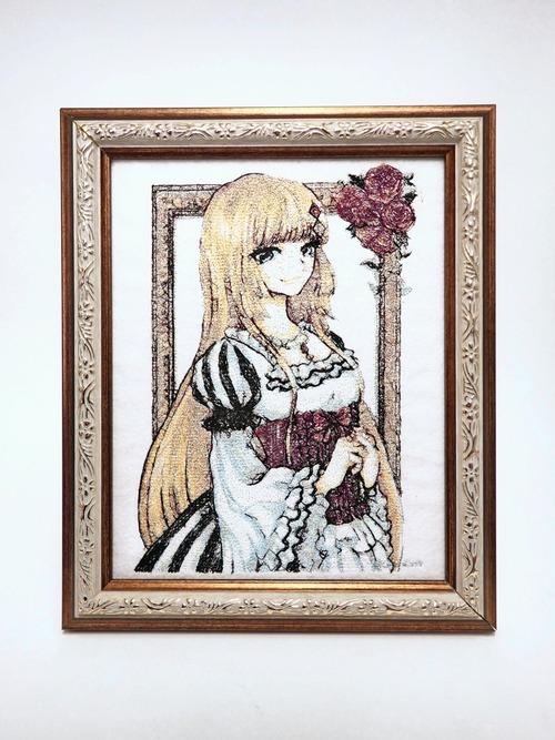 キャラ縫い額装刺繍 王女シャッフル「トランプクイーンのモダンバロック」
