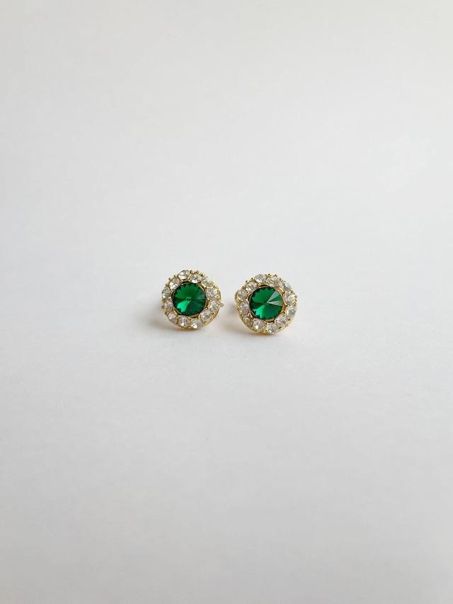 VINTAGE CIRCLE green bijou earrings