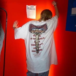 【トップス】ペアルック十字架暗黒系韓国系ストリート系プリント図柄半袖Tシャツ45439401