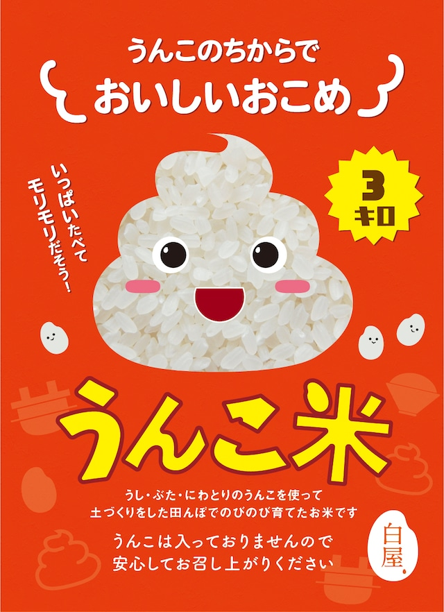 新米 !! うんこ米【3kg】精白米