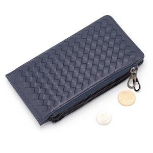 イタリア製 本革 長財布 財布 ブルー 編み込み