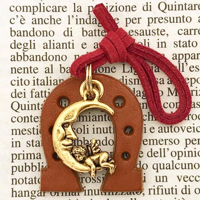 ◆幸運の馬蹄アクセサリー◆ レザー製馬蹄 天使(てんし・テンシ)・エンジェル3 月と天使 「お金と愛を呼び寄せる」