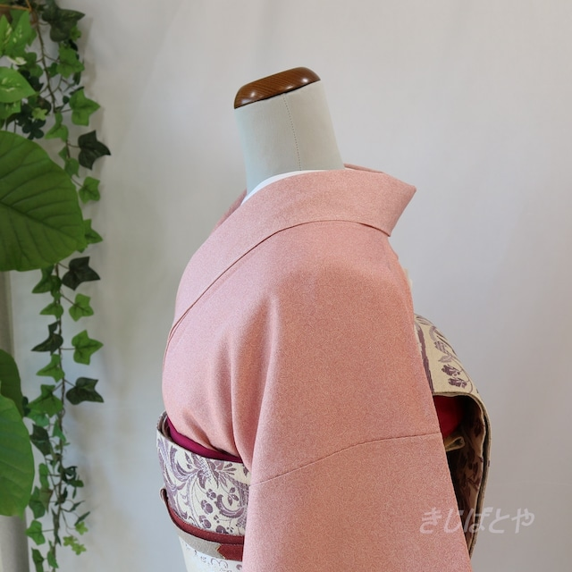 正絹紬 朝焼け色のぼかしの付け下げ 袷
