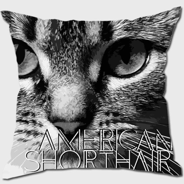 アメリカンショートヘア 【IMPACT -shirokuro- 猫 クッション】
