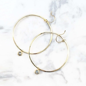 Rose Cut Diamond Hoop Pierced Earring / Pair(E199-YD)