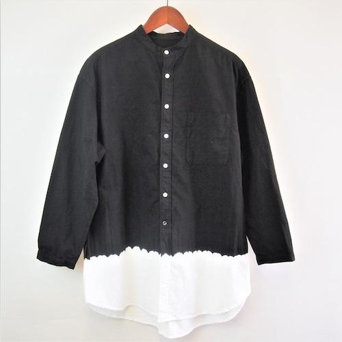 <OSOCU> Chita-momen band collar long shirt black dye white hem