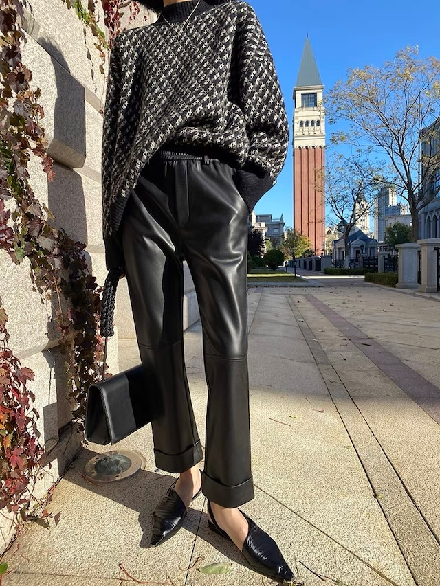 line design leather pants