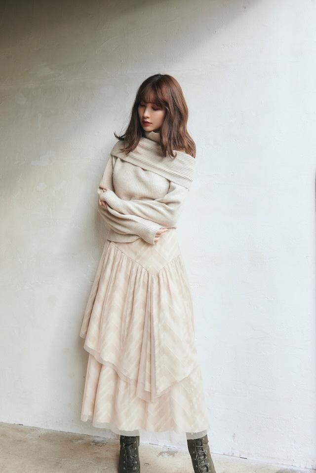 Asymmetric Plaid Tulle Skirt