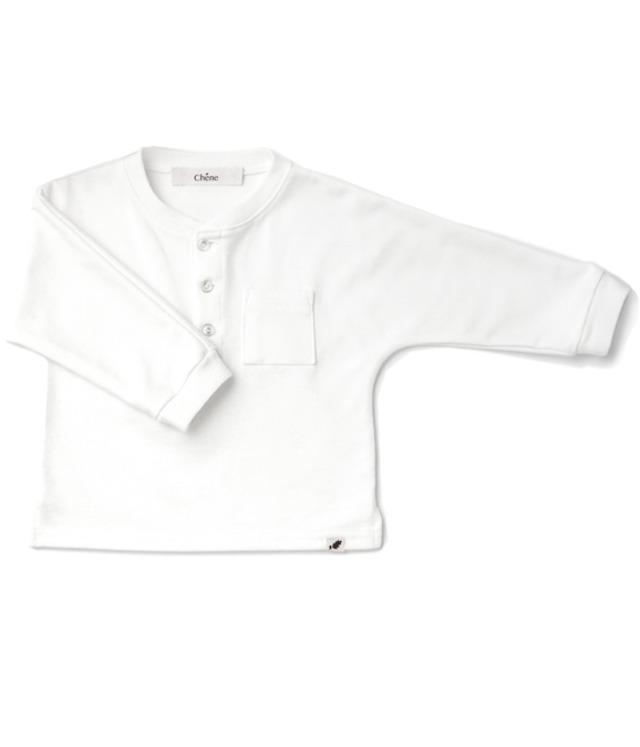 【ベビー服】生地が薄くなった☆ヘンリーネックTEE/ ホワイト / 70~100サイズ