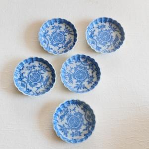〈再入荷〉【0935】 印判 ブルー小皿 昭和(1枚)/ Stamp Small Plates  / Showa Era