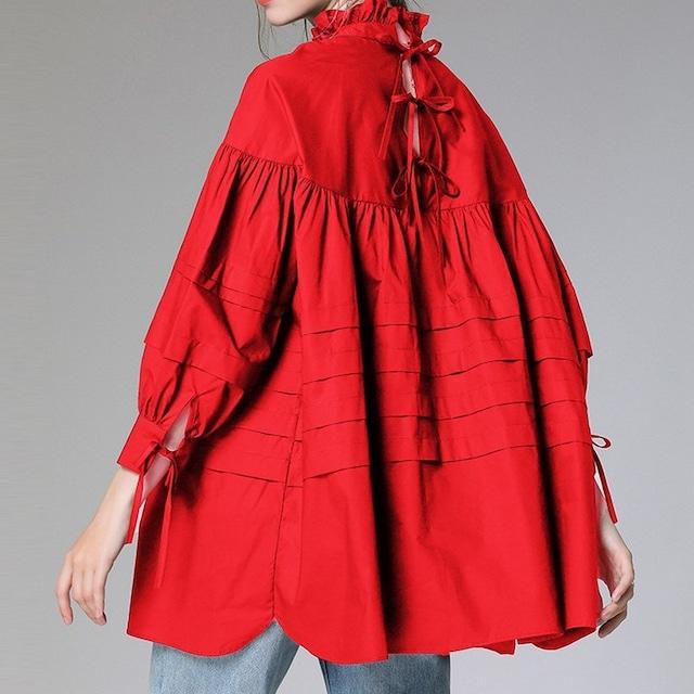 バックリボンフリルシャツ   1-492