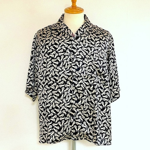 Animal Print Open Collar Shirts Black Cat