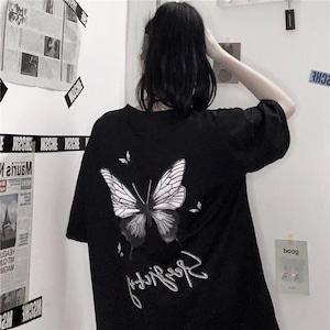 【トップス】蝶図柄プリントストリートカジュアルTシャツ42896099