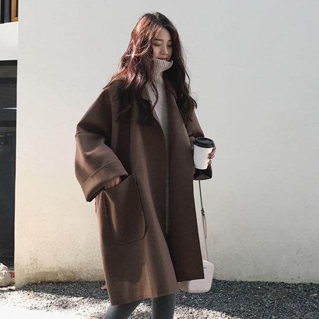 【アウター】一枚で視線を奪う 韓国系 ファッション 気質アップ ファッション 無地 長袖 折り襟 コート53259426