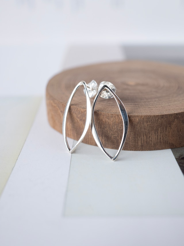 ♢ Marquise Stud Earrings / Silver - 013