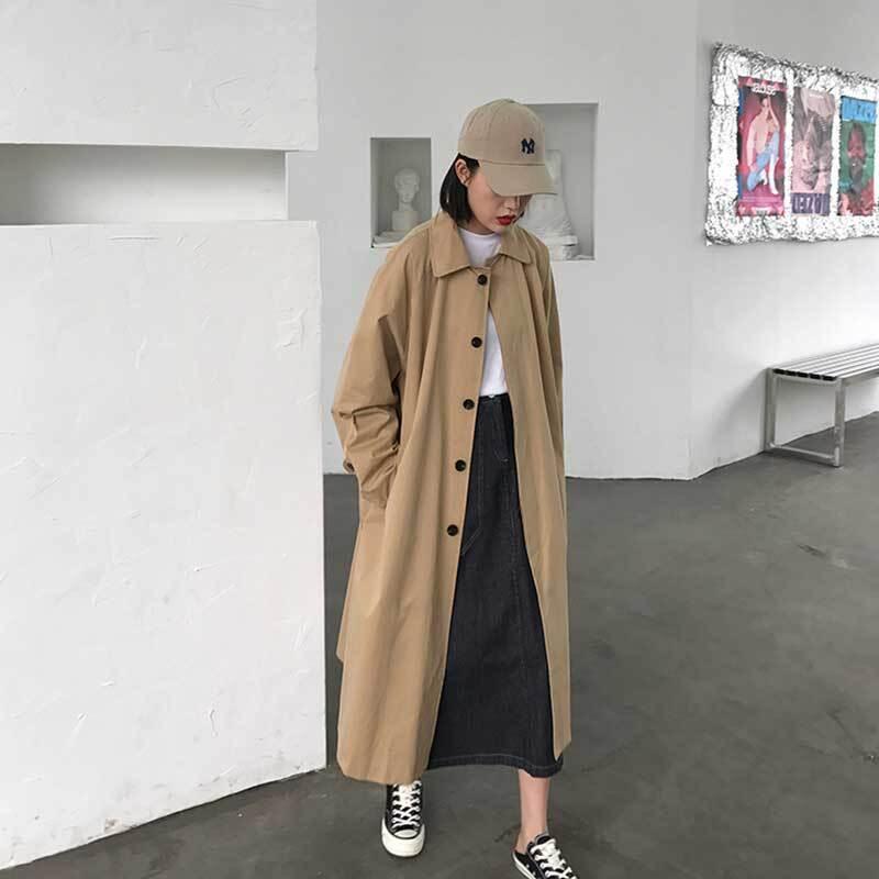 ステンカラーコート   ロングコート カジュアル 韓国服 春服 冬服 アウター