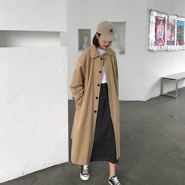 ステンカラーコート | ロングコート カジュアル 韓国服 春服 冬服 アウター
