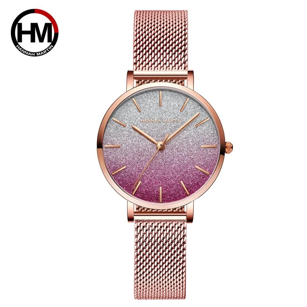 HMステンレススチールメッシュ腕時計トップブランドラグジュアリージャパンクォーツムーブメントローズゴールドデザイナーエレガントなスタイルの時計女性用1323WF2