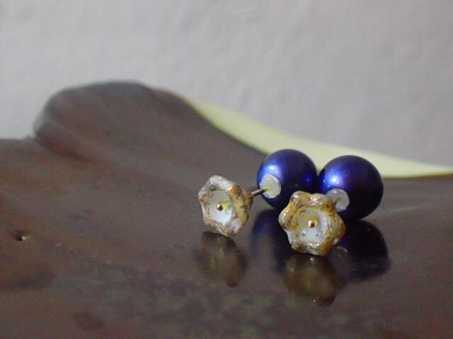 brown flower beads earrings