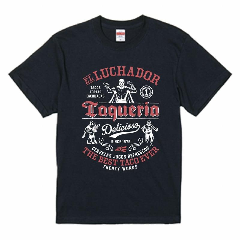 LUCHADOR NAVY レスラーのタコス屋さん ルチャドール ルチャリブレ ネイビーTシャツ