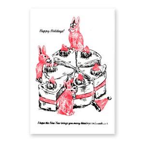 christmas & new year card 3匹のうさぎとホールのケーキ