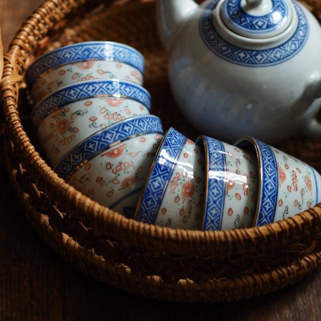 『シンプルな茶杯/朱×ゴールドライン』景徳鎮/ホタル