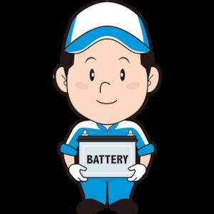 バッテリー交換する男性整備士