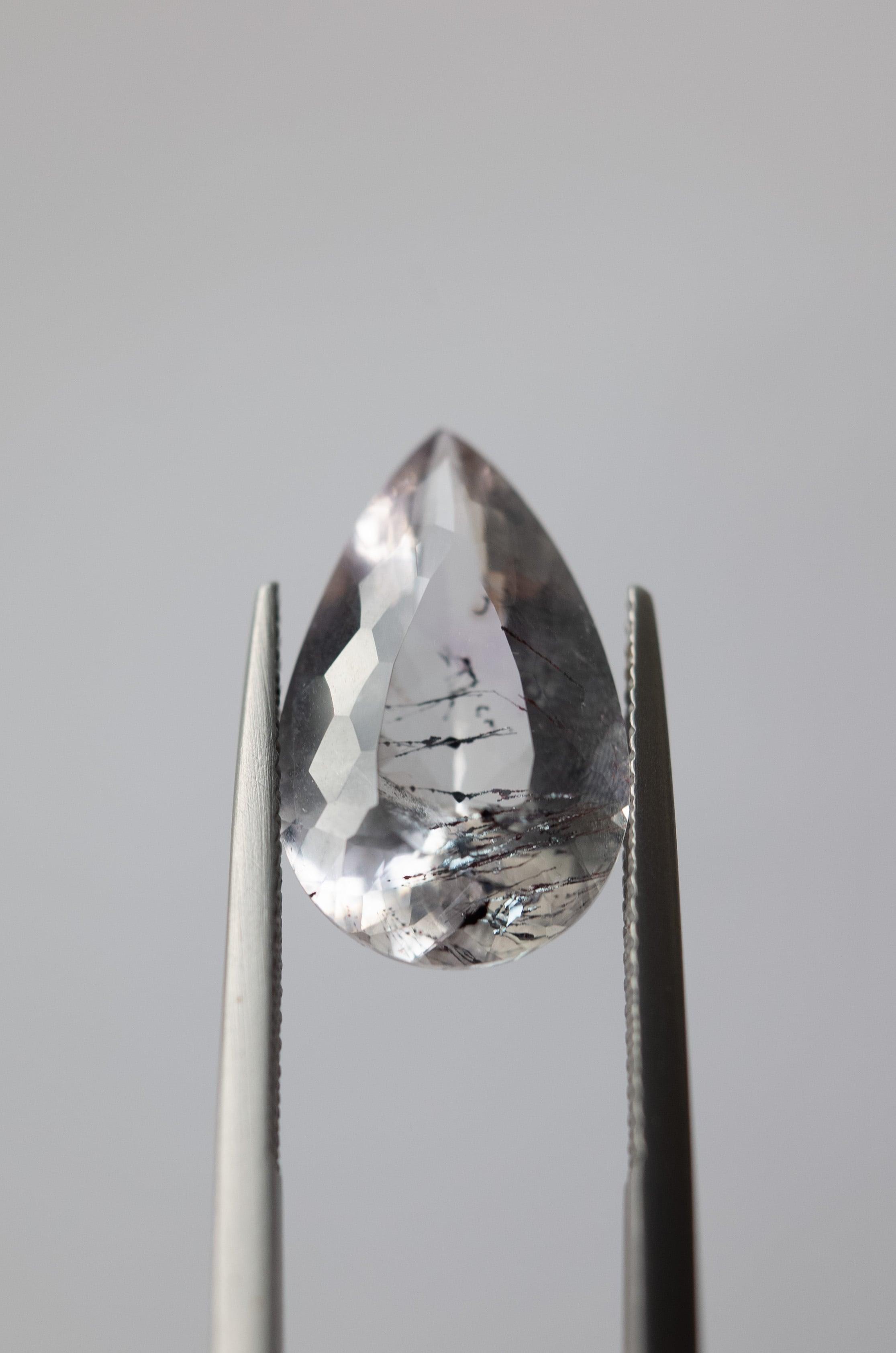 Goethite in Quartz Faceted - 004