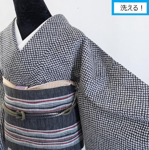 【洗える】プレタ小紋 袷 疋田模様 総絞り風 黒×白 丈164裄66
