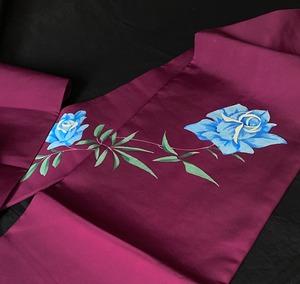 〈手描き薔薇の名古屋帯〉塩瀬 赤紫の帯 トール 送料無料