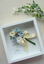 サンクスボード  フラワーボックス (ブルーローズブーケ&ホワイトBOX) 結婚式 贈呈品