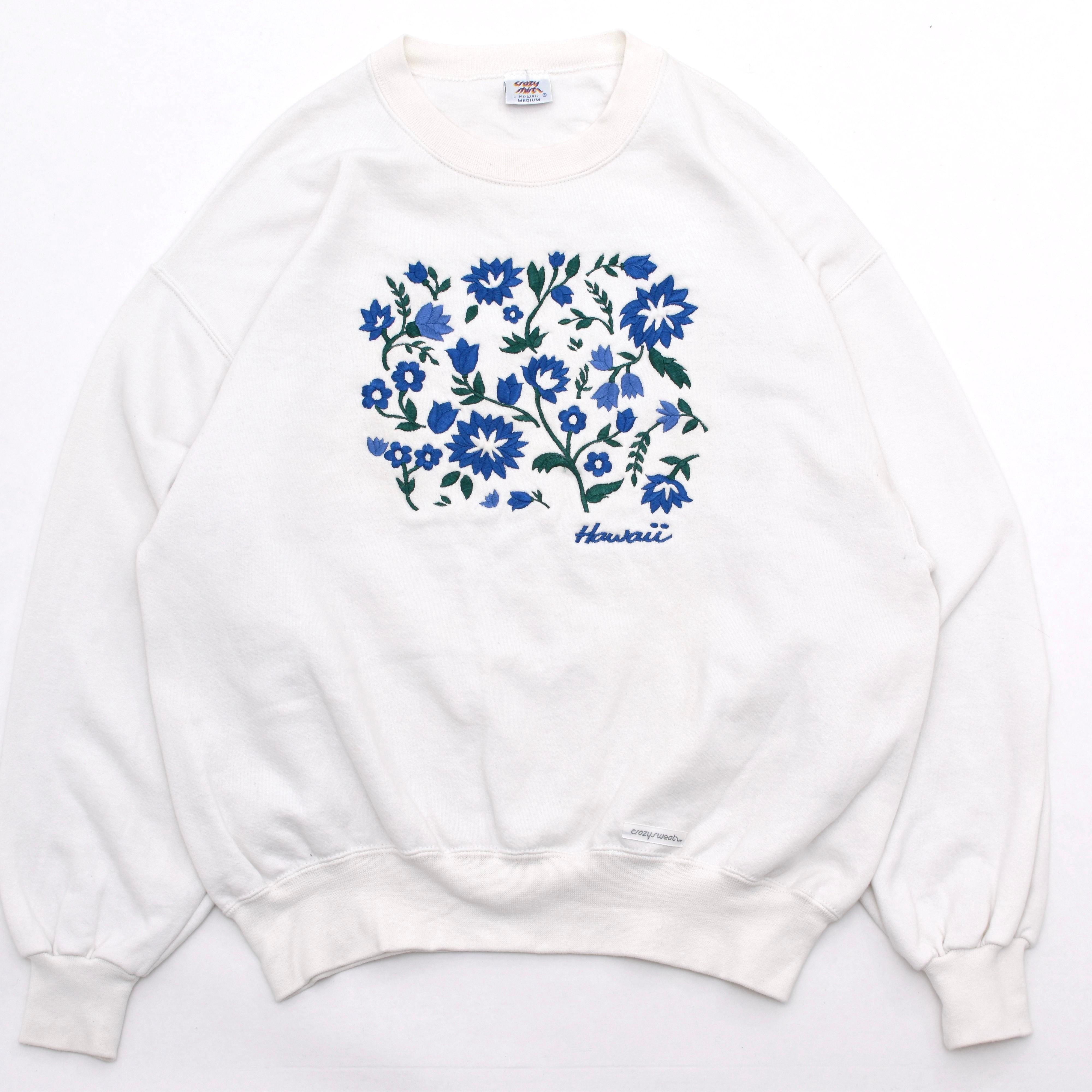 USA Made Flower embroidery sweatshirt