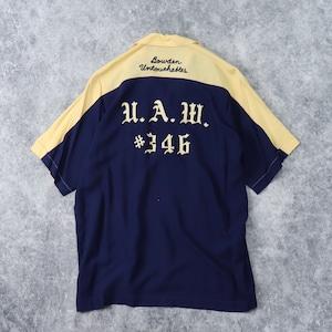 """60年代 """" NAT NAST """" ナットナスト ボーリングシャツ メンズM チェーン刺繍 切り替え2トーン ヴィンテージ"""